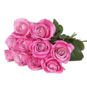 Kymmenen vaaleanpunaista ruusua